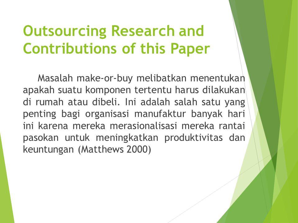 Outsourcing Research and Contributions of this Paper Masalah make-or-buy melibatkan menentukan apakah suatu komponen tertentu harus dilakukan di rumah