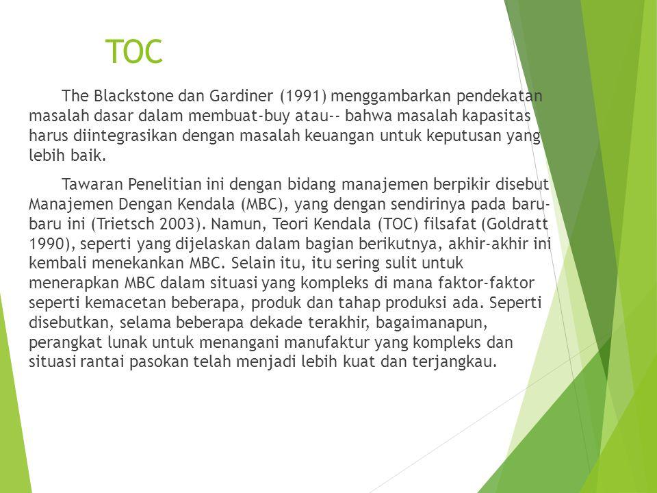 TOC The Blackstone dan Gardiner (1991) menggambarkan pendekatan masalah dasar dalam membuat-buy atau-- bahwa masalah kapasitas harus diintegrasikan dengan masalah keuangan untuk keputusan yang lebih baik.