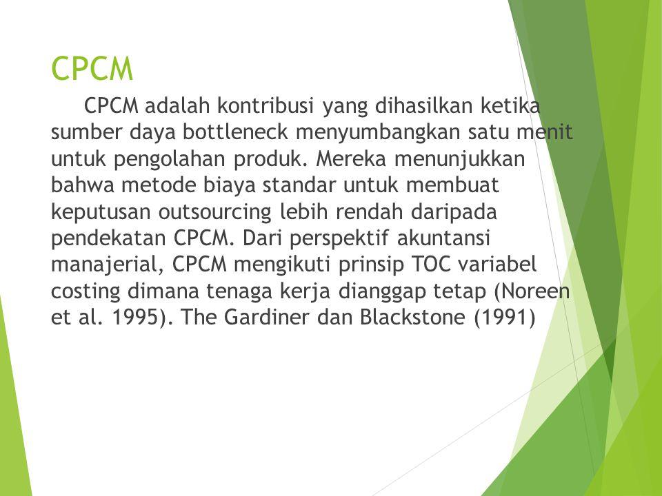 CPCM CPCM adalah kontribusi yang dihasilkan ketika sumber daya bottleneck menyumbangkan satu menit untuk pengolahan produk.