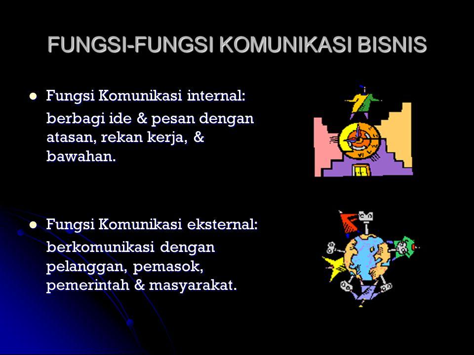 FUNGSI-FUNGSI KOMUNIKASI BISNIS  Fungsi Komunikasi internal: berbagi ide & pesan dengan atasan, rekan kerja, & bawahan.  Fungsi Komunikasi eksternal