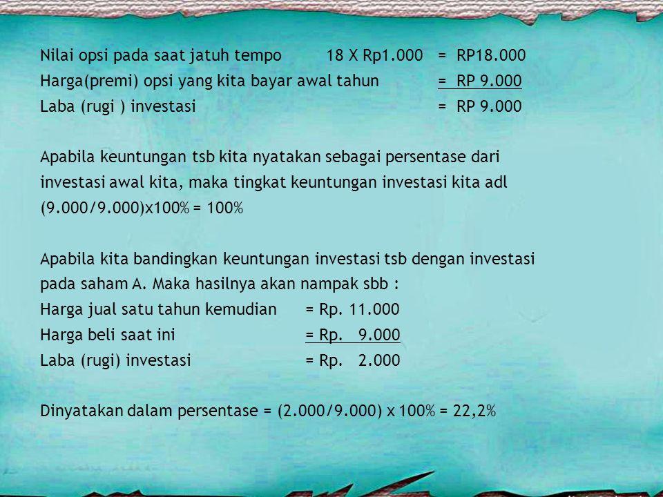 Nilai opsi pada saat jatuh tempo 18 X Rp1.000 = RP18.000 Harga(premi) opsi yang kita bayar awal tahun= RP 9.000 Laba (rugi ) investasi= RP 9.000 Apabila keuntungan tsb kita nyatakan sebagai persentase dari investasi awal kita, maka tingkat keuntungan investasi kita adl (9.000/9.000)x100% = 100% Apabila kita bandingkan keuntungan investasi tsb dengan investasi pada saham A.