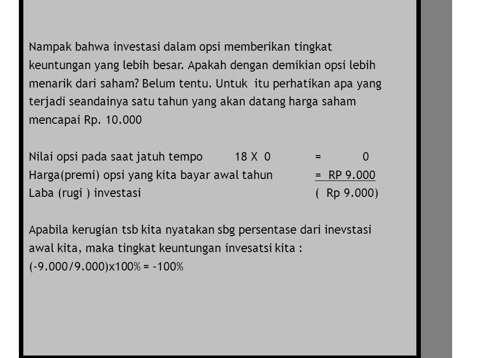 Nampak bahwa investasi dalam opsi memberikan tingkat keuntungan yang lebih besar.