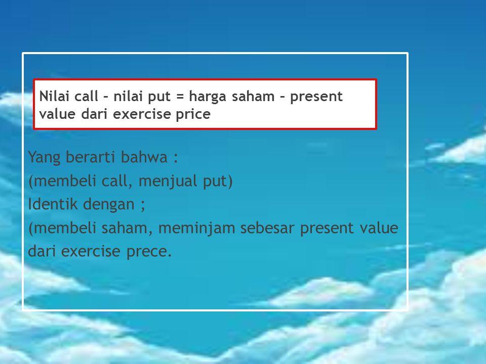 Yang berarti bahwa : (membeli call, menjual put) Identik dengan ; (membeli saham, meminjam sebesar present value dari exercise prece.