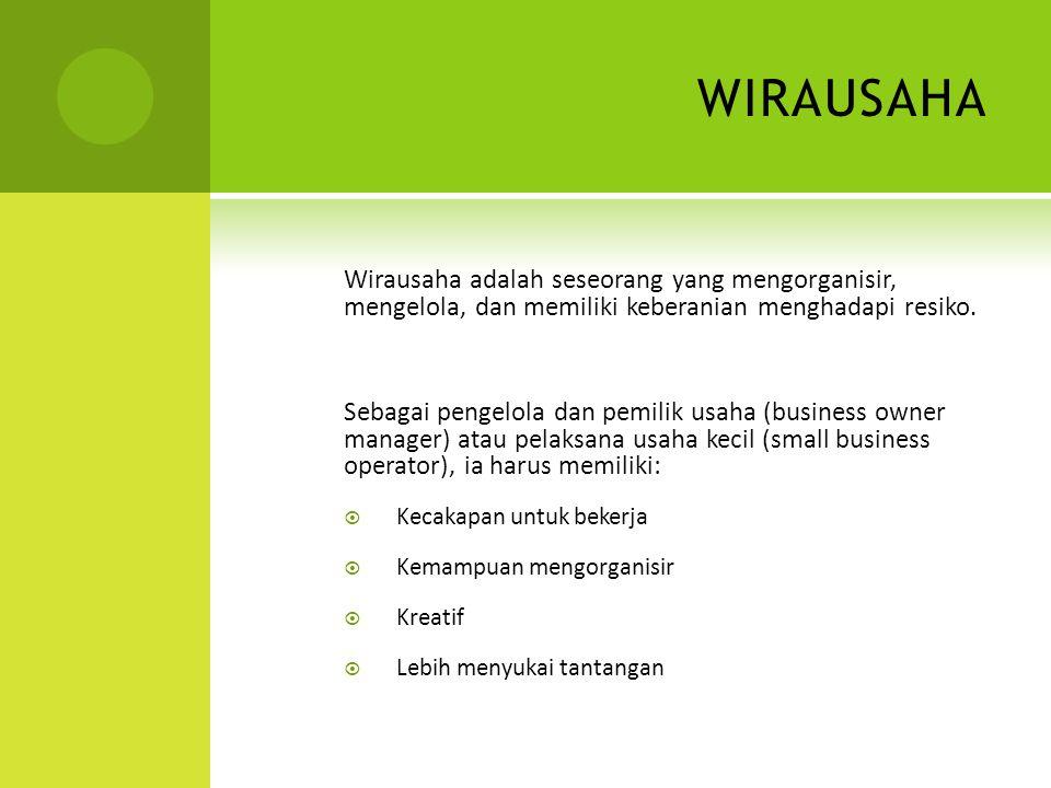 WIRAUSAHA Wirausaha adalah seseorang yang mengorganisir, mengelola, dan memiliki keberanian menghadapi resiko. Sebagai pengelola dan pemilik usaha (bu