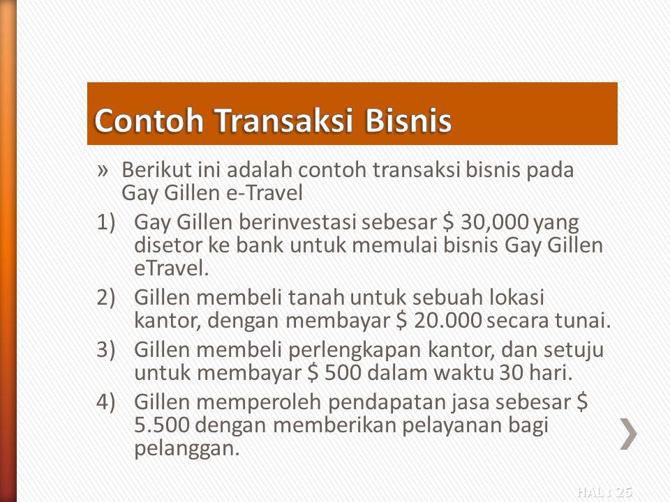 HAL : 26 » Berikut ini adalah contoh transaksi bisnis pada Gay Gillen e-Travel 1)Gay Gillen berinvestasi sebesar $ 30,000 yang disetor ke bank untuk m