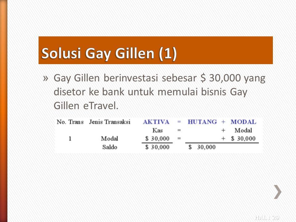 HAL : 29 » Gay Gillen berinvestasi sebesar $ 30,000 yang disetor ke bank untuk memulai bisnis Gay Gillen eTravel.