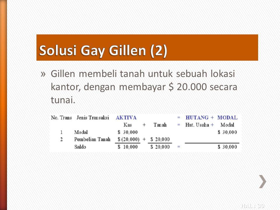 HAL : 30 » Gillen membeli tanah untuk sebuah lokasi kantor, dengan membayar $ 20.000 secara tunai.