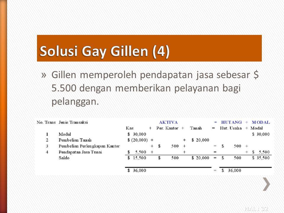 HAL : 32 » Gillen memperoleh pendapatan jasa sebesar $ 5.500 dengan memberikan pelayanan bagi pelanggan.