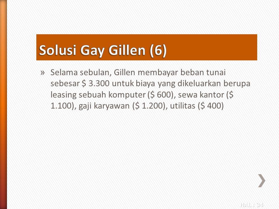 HAL : 34 » Selama sebulan, Gillen membayar beban tunai sebesar $ 3.300 untuk biaya yang dikeluarkan berupa leasing sebuah komputer ($ 600), sewa kanto