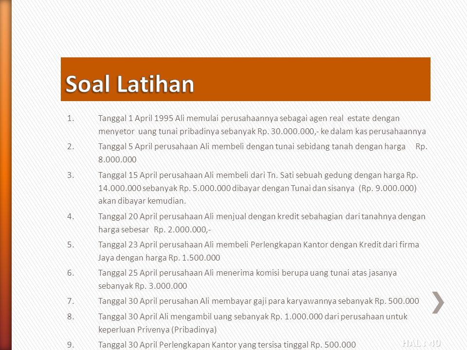 HAL : 40 1.Tanggal 1 April 1995 Ali memulai perusahaannya sebagai agen real estate dengan menyetor uang tunai pribadinya sebanyak Rp. 30.000.000,- ke