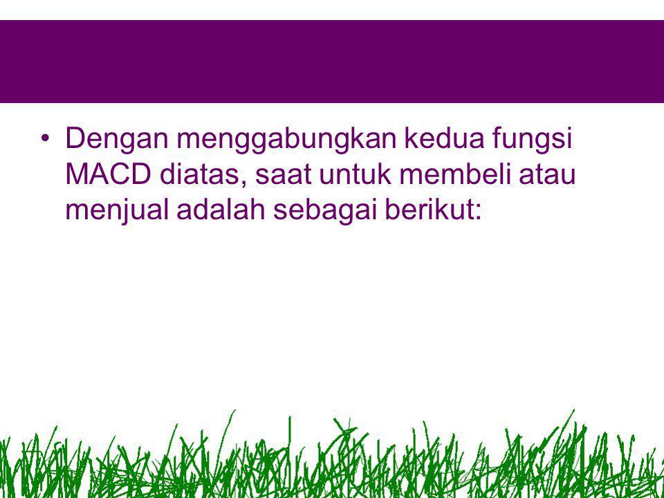 •Dengan menggabungkan kedua fungsi MACD diatas, saat untuk membeli atau menjual adalah sebagai berikut: