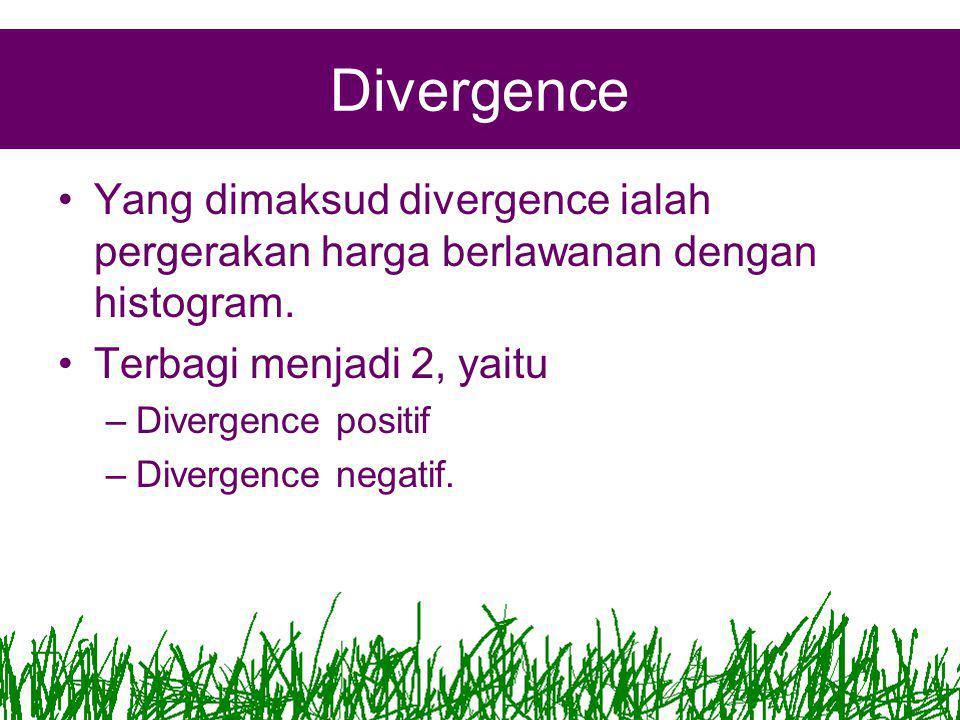 Divergence •Yang dimaksud divergence ialah pergerakan harga berlawanan dengan histogram.