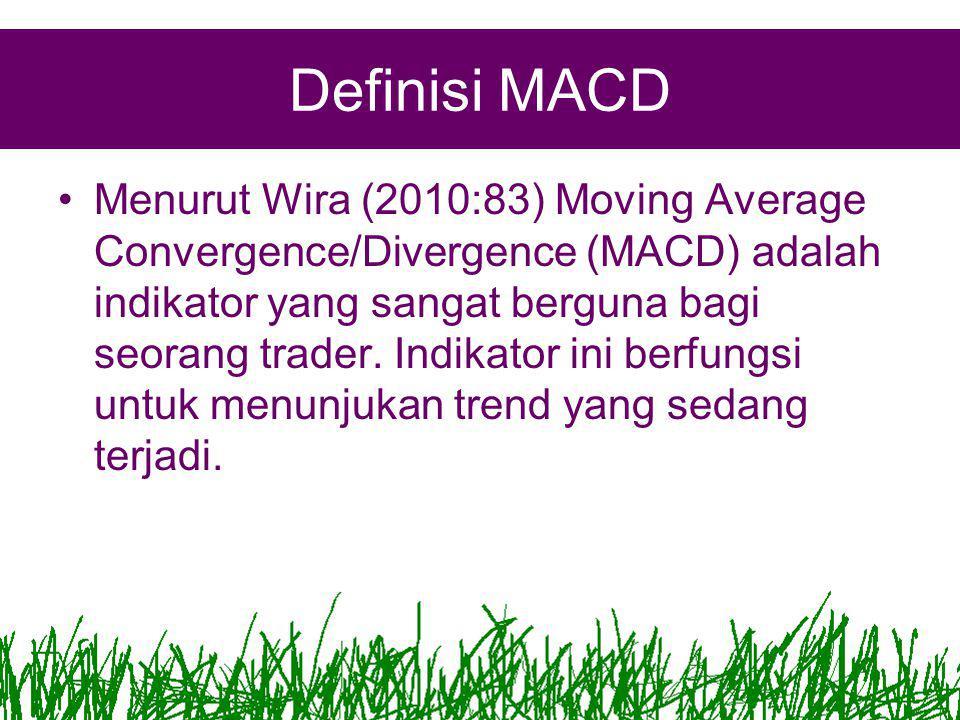 Definisi MACD •Menurut Wira (2010:83) Moving Average Convergence/Divergence (MACD) adalah indikator yang sangat berguna bagi seorang trader.