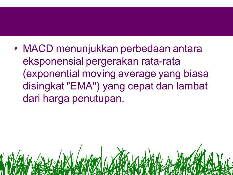 •MACD menunjukkan perbedaan antara eksponensial pergerakan rata-rata (exponential moving average yang biasa disingkat EMA ) yang cepat dan lambat dari harga penutupan.
