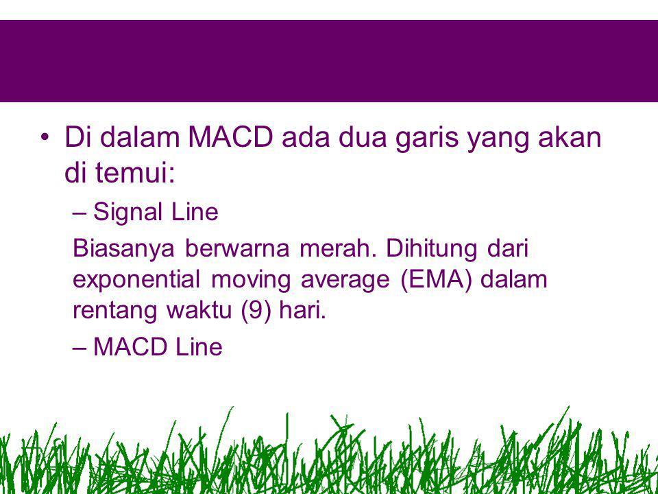 •Di dalam MACD ada dua garis yang akan di temui: –Signal Line Biasanya berwarna merah.