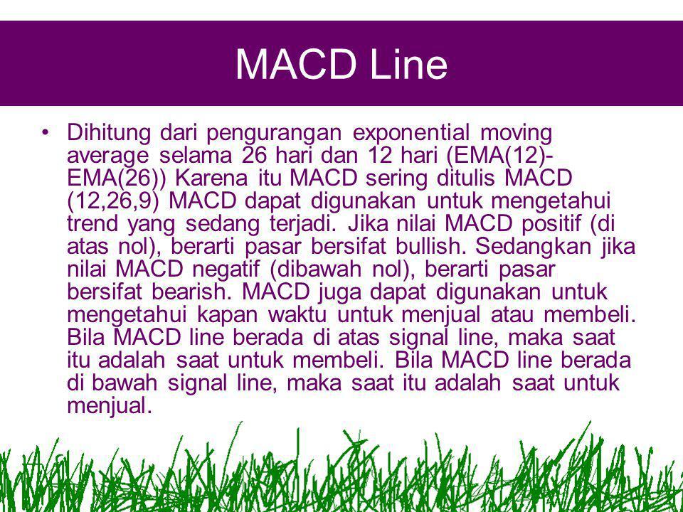 MACD Line •Dihitung dari pengurangan exponential moving average selama 26 hari dan 12 hari (EMA(12)- EMA(26)) Karena itu MACD sering ditulis MACD (12,26,9) MACD dapat digunakan untuk mengetahui trend yang sedang terjadi.