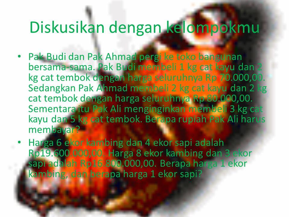 Misalkan harga 1 kg mangga = x Harga 1 kg apel =y Kalimat matematika(model matematika) 2x+y=15000 X+2y=18000 Selanjutunya penyelesaiannya dengan mengg
