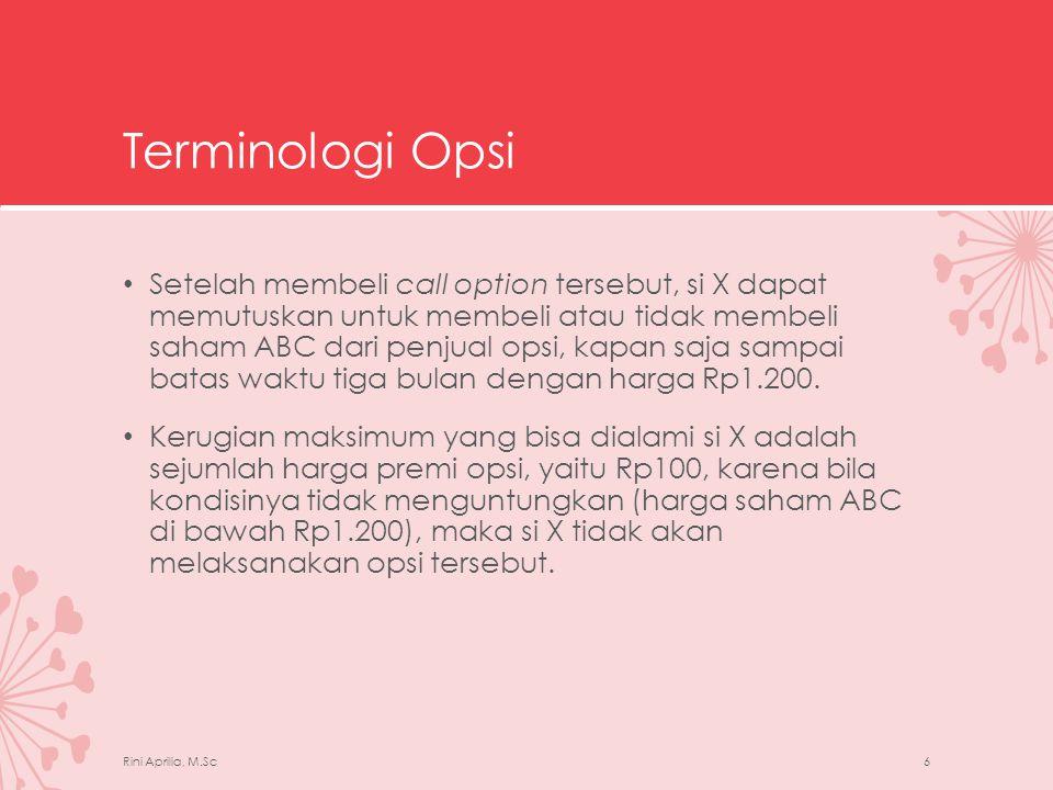 Terminologi Opsi • Sebaliknya dari sisi penjual opsi, keuntungan maksimum yang bisa didapatkan oleh penjual opsi hanyalah sebesar harga premi opsi, karena kerugian pembeli opsi merupakan keuntungan penjual opsi.