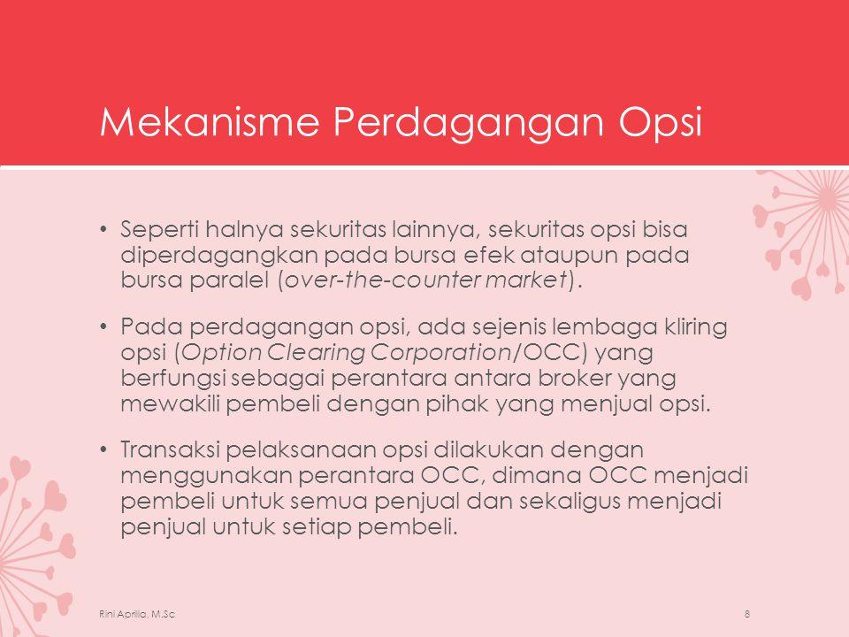 Opsi Saham di BEI • Bursa Efek Indonesia (BEI) memulai perdagangan kontrak opsi saham (KOS) pada tanggal 6 Oktober 2004.