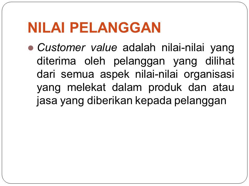  Customer value adalah nilai-nilai yang diterima oleh pelanggan yang dilihat dari semua aspek nilai-nilai organisasi yang melekat dalam produk dan atau jasa yang diberikan kepada pelanggan