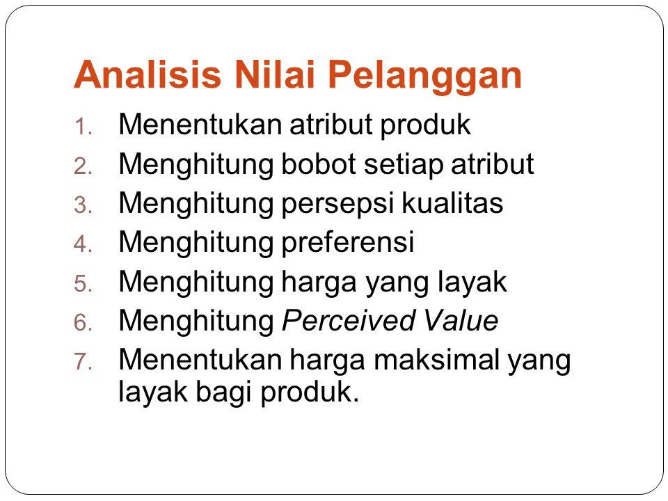 Analisis Nilai Pelanggan 1.Menentukan atribut produk 2.