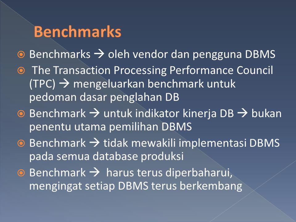  Benchmarks  oleh vendor dan pengguna DBMS  The Transaction Processing Performance Council (TPC)  mengeluarkan benchmark untuk pedoman dasar pengl