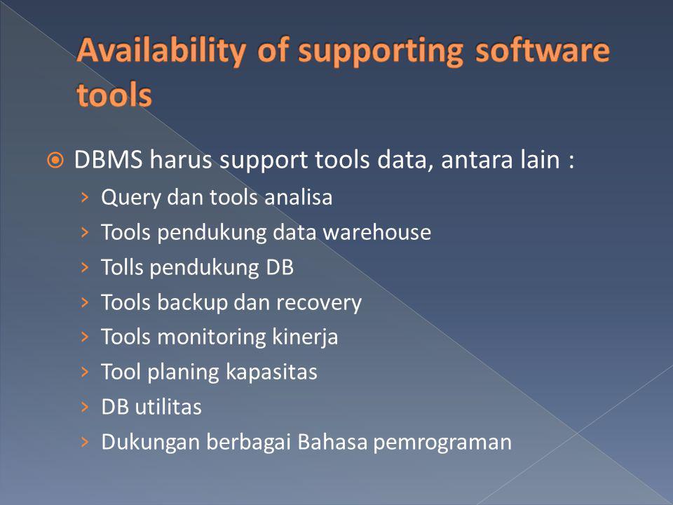  DBMS harus support tools data, antara lain : › Query dan tools analisa › Tools pendukung data warehouse › Tolls pendukung DB › Tools backup dan reco