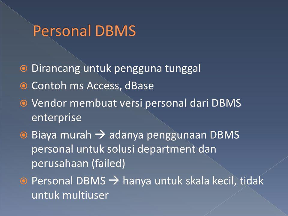  Dirancang untuk pengguna tunggal  Contoh ms Access, dBase  Vendor membuat versi personal dari DBMS enterprise  Biaya murah  adanya penggunaan DB