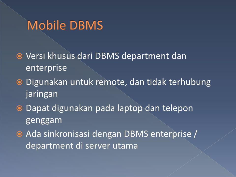  Versi khusus dari DBMS department dan enterprise  Digunakan untuk remote, dan tidak terhubung jaringan  Dapat digunakan pada laptop dan telepon ge
