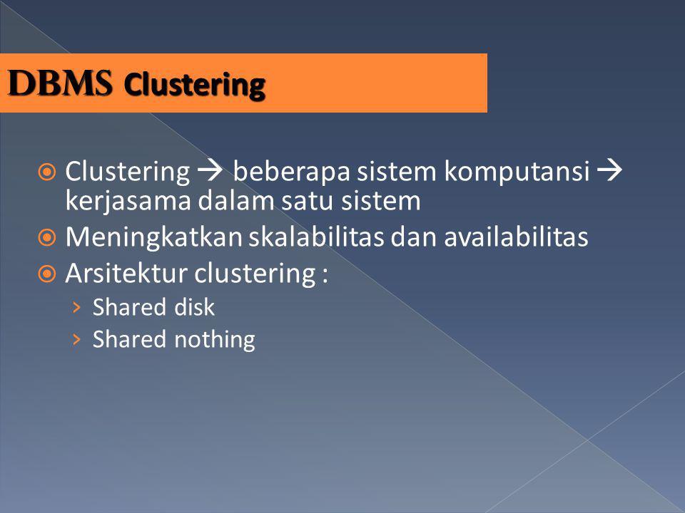 DBMS Clustering  Clustering  beberapa sistem komputansi  kerjasama dalam satu sistem  Meningkatkan skalabilitas dan availabilitas  Arsitektur clu