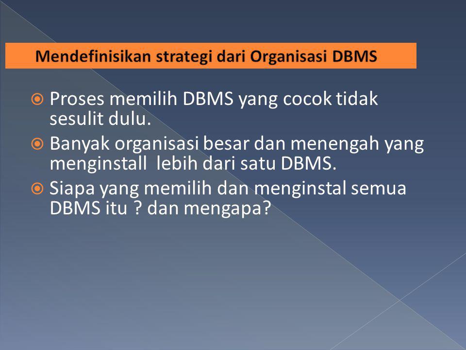 Proses memilih DBMS yang cocok tidak sesulit dulu.  Banyak organisasi besar dan menengah yang menginstall lebih dari satu DBMS.  Siapa yang memili