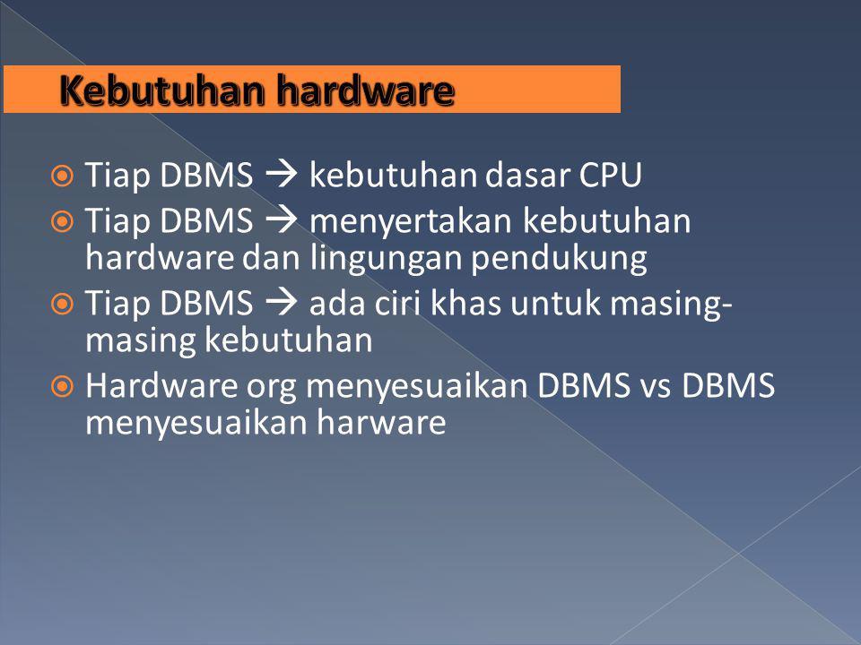  Tiap DBMS  kebutuhan dasar CPU  Tiap DBMS  menyertakan kebutuhan hardware dan lingungan pendukung  Tiap DBMS  ada ciri khas untuk masing- masin