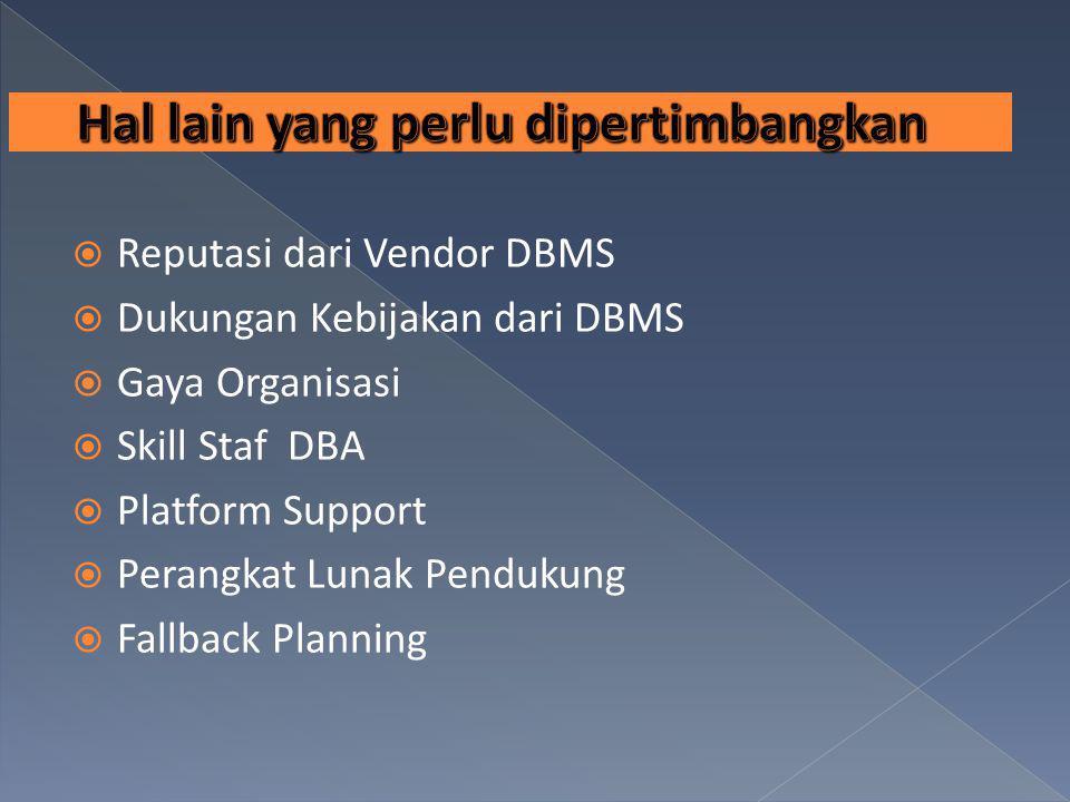  Reputasi dari Vendor DBMS  Dukungan Kebijakan dari DBMS  Gaya Organisasi  Skill Staf DBA  Platform Support  Perangkat Lunak Pendukung  Fallbac