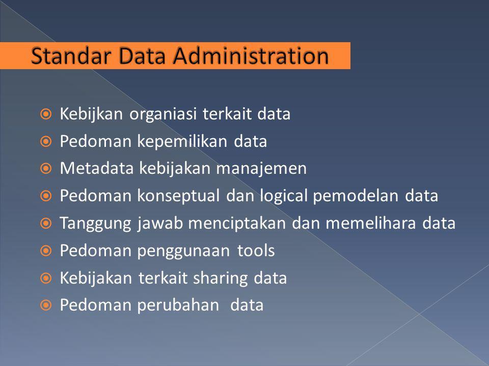  Kebijkan organiasi terkait data  Pedoman kepemilikan data  Metadata kebijakan manajemen  Pedoman konseptual dan logical pemodelan data  Tanggung