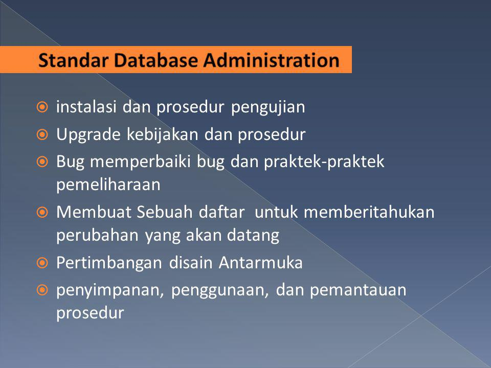  instalasi dan prosedur pengujian  Upgrade kebijakan dan prosedur  Bug memperbaiki bug dan praktek-praktek pemeliharaan  Membuat Sebuah daftar unt