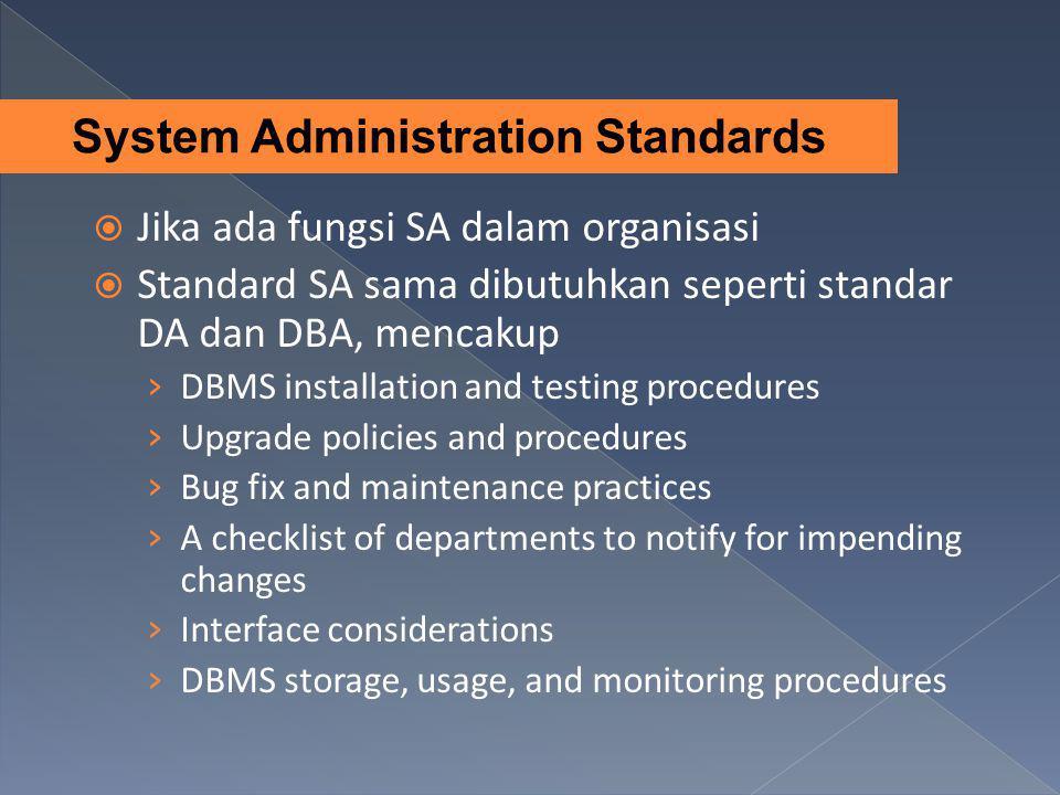  Jika ada fungsi SA dalam organisasi  Standard SA sama dibutuhkan seperti standar DA dan DBA, mencakup › DBMS installation and testing procedures ›
