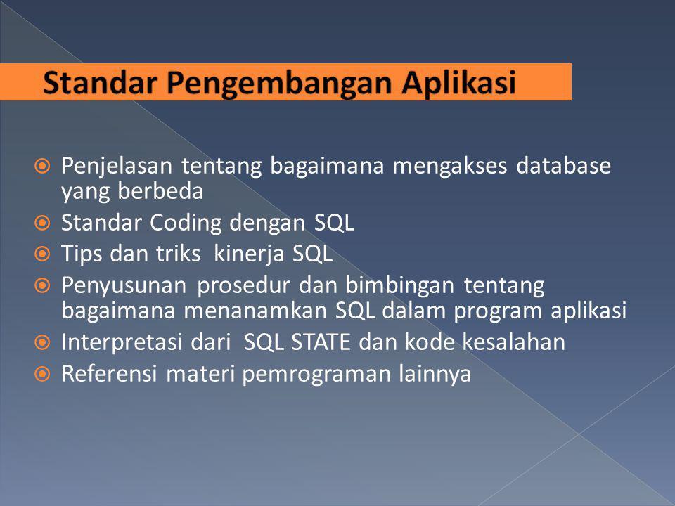 Penjelasan tentang bagaimana mengakses database yang berbeda  Standar Coding dengan SQL  Tips dan triks kinerja SQL  Penyusunan prosedur dan bimb