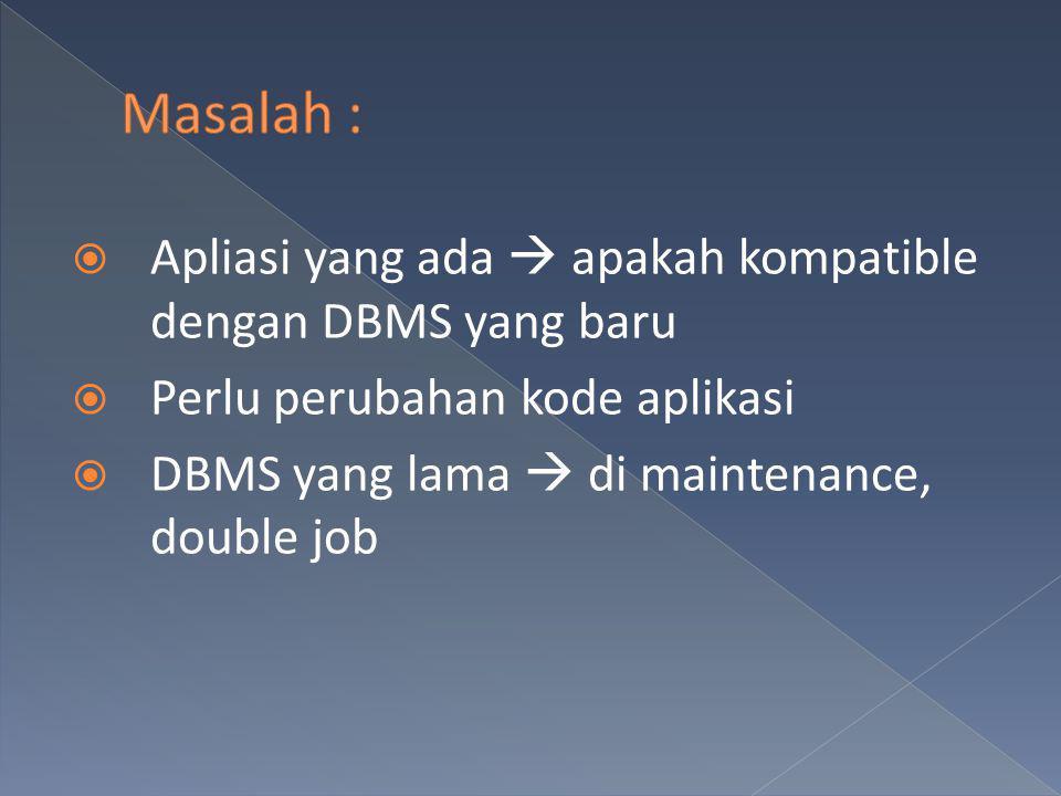 Solusi  DBA  menjadi pertimbangan utama pemilihan DBMS  Unit usaha Membeli DBMS  approval dari DBA Fakta  Grup DBA = teknis  kalah suara dari bisnis eksekutif lain Mendefinisikan strategi dari Organisasi DBMS