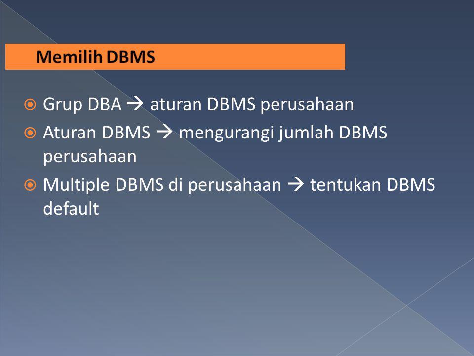  Grup DBA  aturan DBMS perusahaan  Aturan DBMS  mengurangi jumlah DBMS perusahaan  Multiple DBMS di perusahaan  tentukan DBMS default