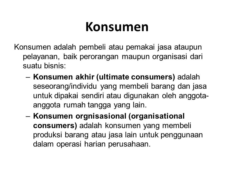 Konsumen Konsumen adalah pembeli atau pemakai jasa ataupun pelayanan, baik perorangan maupun organisasi dari suatu bisnis: –Konsumen akhir (ultimate c