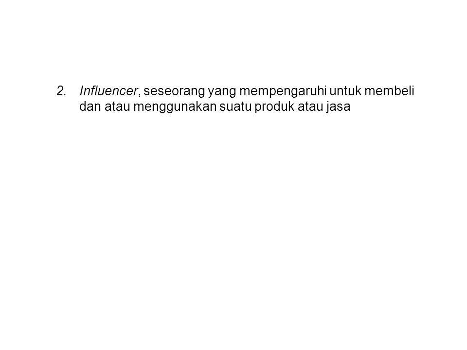 2.Influencer, seseorang yang mempengaruhi untuk membeli dan atau menggunakan suatu produk atau jasa