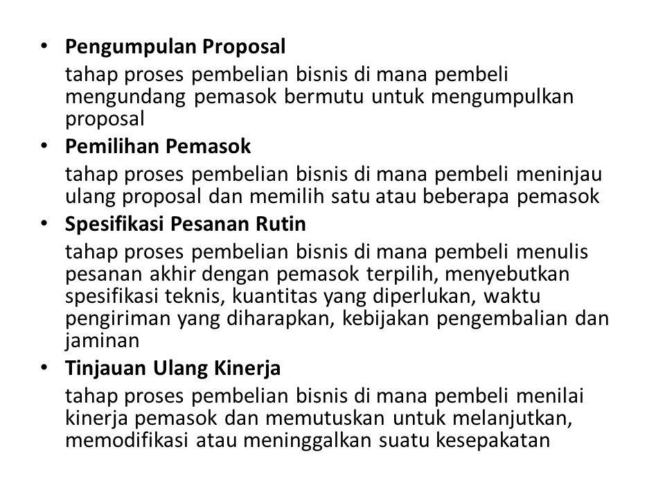 • Pengumpulan Proposal tahap proses pembelian bisnis di mana pembeli mengundang pemasok bermutu untuk mengumpulkan proposal • Pemilihan Pemasok tahap