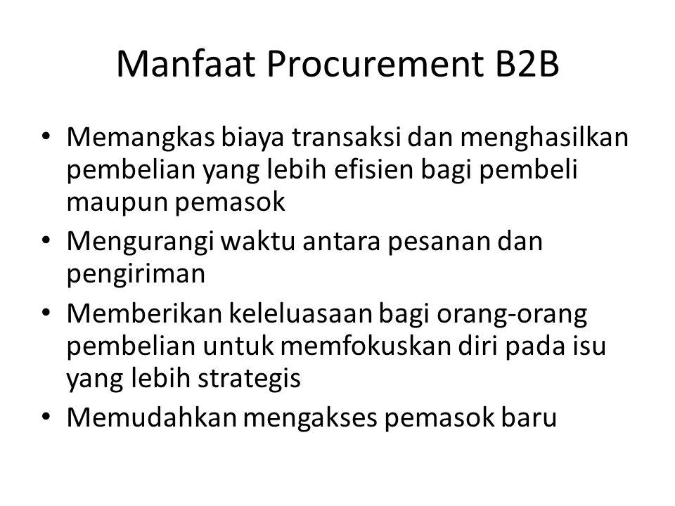 Manfaat Procurement B2B • Memangkas biaya transaksi dan menghasilkan pembelian yang lebih efisien bagi pembeli maupun pemasok • Mengurangi waktu antar