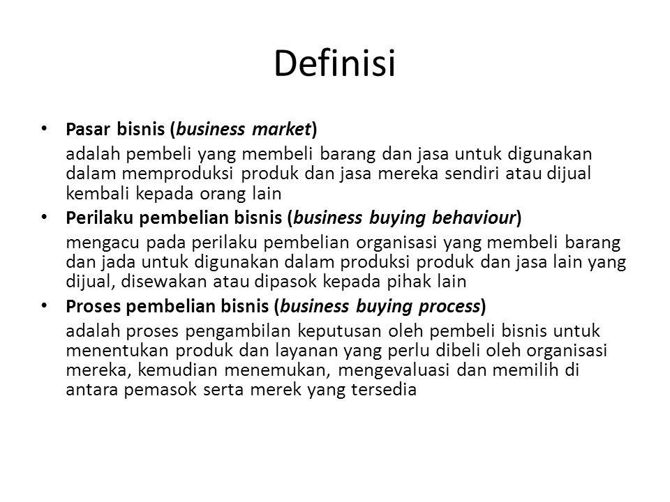 Definisi • Pasar bisnis (business market) adalah pembeli yang membeli barang dan jasa untuk digunakan dalam memproduksi produk dan jasa mereka sendiri