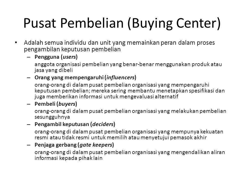 Pusat Pembelian (Buying Center) • Adalah semua individu dan unit yang memainkan peran dalam proses pengambilan keputusan pembelian – Pengguna (users)