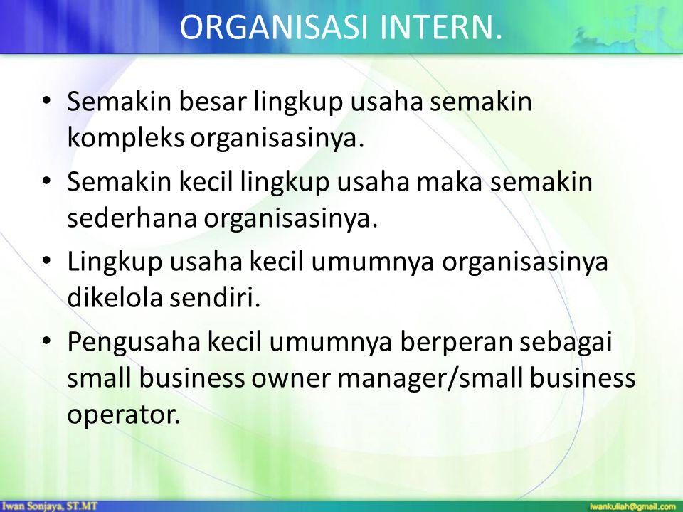 ORGANISASI INTERN. • Semakin besar lingkup usaha semakin kompleks organisasinya. • Semakin kecil lingkup usaha maka semakin sederhana organisasinya. •