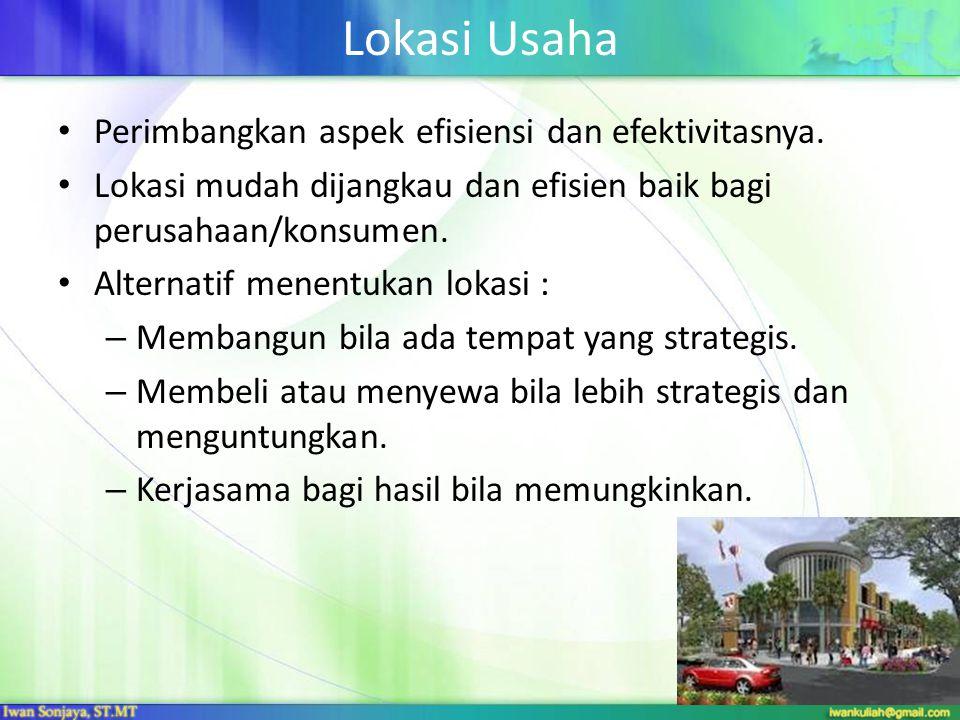 Lokasi Usaha • Perimbangkan aspek efisiensi dan efektivitasnya. • Lokasi mudah dijangkau dan efisien baik bagi perusahaan/konsumen. • Alternatif menen