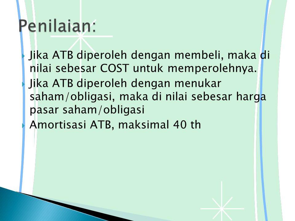  Jika ATB diperoleh dengan membeli, maka di nilai sebesar COST untuk memperolehnya.