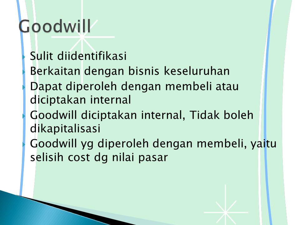  Sulit diidentifikasi  Berkaitan dengan bisnis keseluruhan  Dapat diperoleh dengan membeli atau diciptakan internal  Goodwill diciptakan internal, Tidak boleh dikapitalisasi  Goodwill yg diperoleh dengan membeli, yaitu selisih cost dg nilai pasar