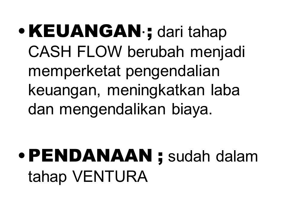 . •KEUANGAN ; dari tahap CASH FLOW berubah menjadi memperketat pengendalian keuangan, meningkatkan laba dan mengendalikan biaya. •PENDANAAN ; sudah da
